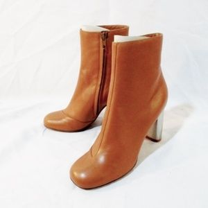 CELINE PARIS Leather High Heel Bootie Ankle Boot